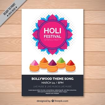 Template festival folheto Holi com elementos coloridos