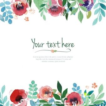 Template flores pintados mão