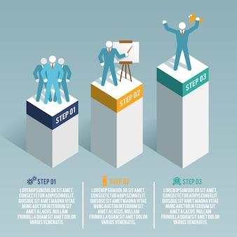 Template infográfico com três etapas