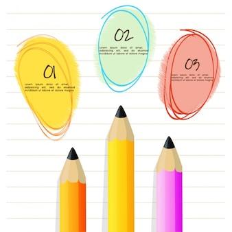 Template infográfico com três lápis de cor