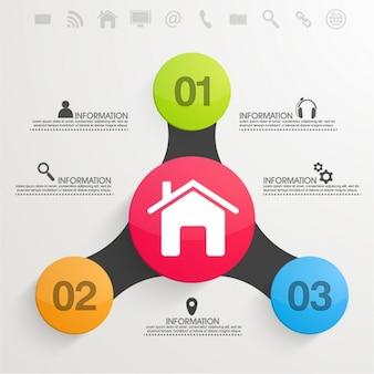 Template infográfico negócio com círculos coloridos em design plano