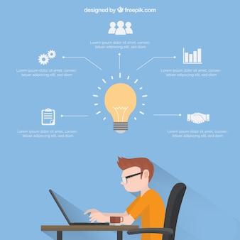 Template infográfico negócios com menino trabalhando
