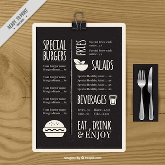 Template menu especial no quadro-negro