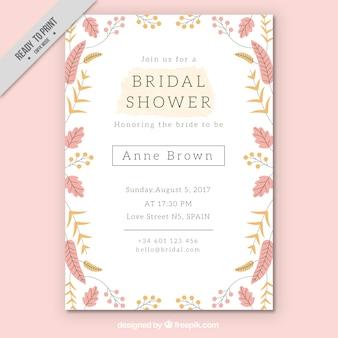 Template nupcial bonito do convite do chuveiro com flores coloridas