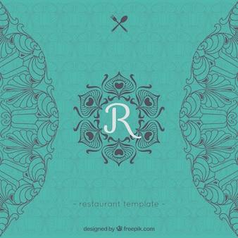 template restaurante Logo com ornamentos