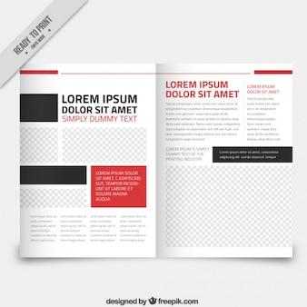 Template revista branco com peças vermelhas e pretas