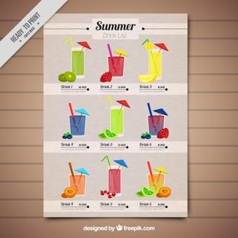 template tropical bonito lista de bebida