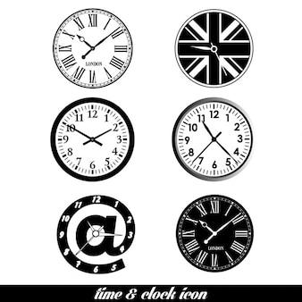 Tempo e relógio fundo ajustado elemento de design