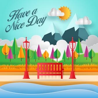 Tenha uma ilustração do cartão de arte de papel de dia agradável