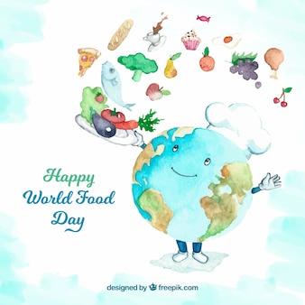 Terra como cozinheira em um dia mundial do alimento
