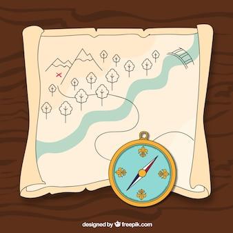Tesouro, mapa, compasso, Ilustração
