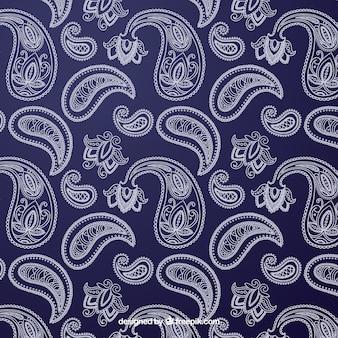 Teste padrão azul e branco com formas ornamentais
