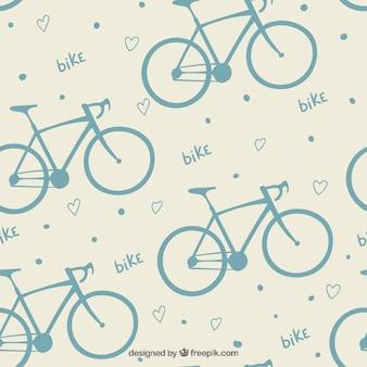 Teste padrão bonito da bicicleta com corações
