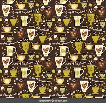 Teste padrão com xícaras de chá