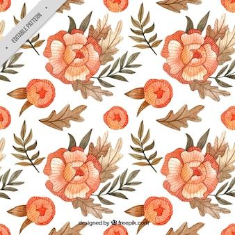 Teste padrão do Batik de flores da aguarela