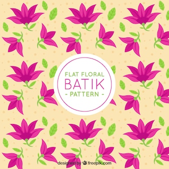 Teste padrão do Batik de flores e folhas