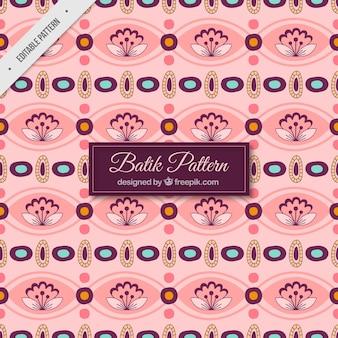 Teste padrão do Batik de flores e formas abstratas