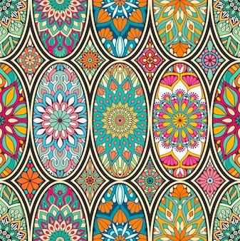 Teste padrão floral com mandalas em estilo étnico