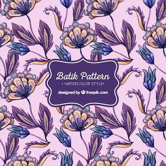 Teste padrão floral da aguarela do Batik