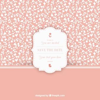 Teste padrão floral do vintage com etiqueta do convite do casamento