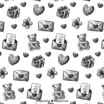 Teste padrão tirado mão dos namorados com ursos de pelúcia e cartas