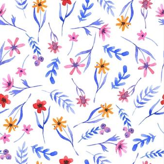 Teste padrão tirado mão floral da aguarela