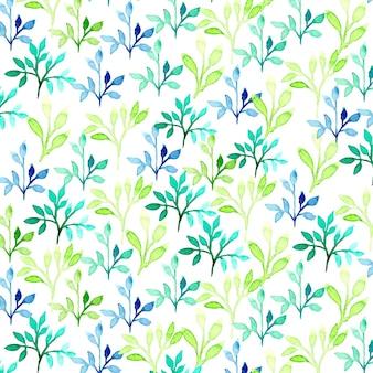 Teste padrão vetorial aquarela com folhas