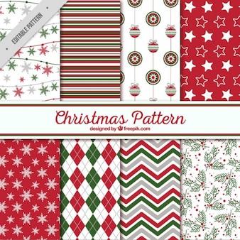 Testes padrões do Natal de formas abstratas e decorativos
