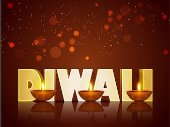 Texto 3D Diwali com lâmpadas iluminadas de óleo iluminado.
