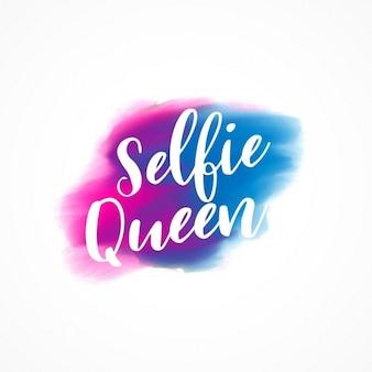 Texto rainha selfie com efeito de tinta aquarela