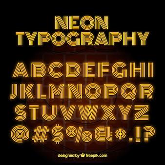 Tipografia de néon com letras amarelas