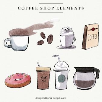 Tipos deliciosos de café com acessórios aguarela ajustados