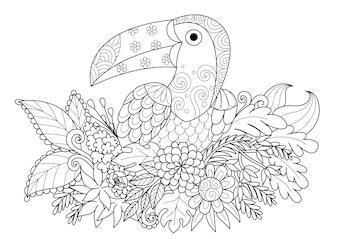 Toucan desenhado à mão com flores