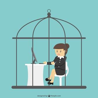 Trabalhador de escritório trancado dentro de uma gaiola de pássaro