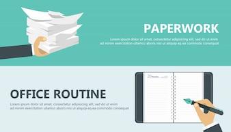 Trabalho de papel e rotina de escritório