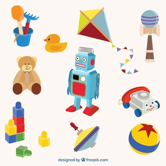 Tradicionais brinquedos coloridos