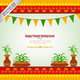 Tradicional colorido do fundo Pongal