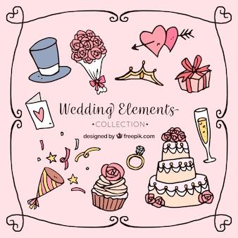 Tradicional, mão, desenhado, casamento, elemento, cobrança