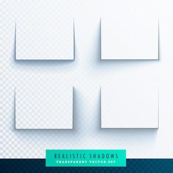 Transparente realista sombra de papel efeitos coleção