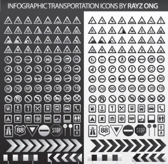 Transporte elegante pacote de informações illustrator vetor