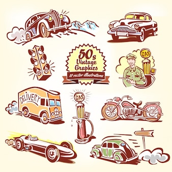 Transportes desenhados mão do vintage