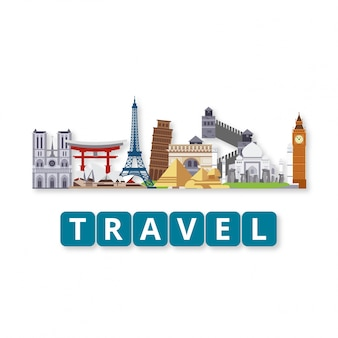 Travel World Landmarks conjunto com letras