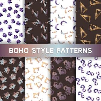 Trendy, criativo, mão, desenhado, seamless, padrões, cobrança, watercolour