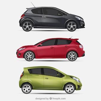 Três carros modernos em estilo realista