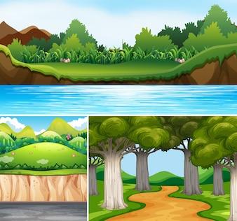 Três cenas da natureza com rio e estrada