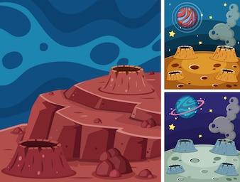 Três cenas de planetas no espaço escuro
