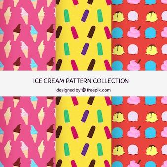Três, colorido, padrões, variedade, gelo, cremes