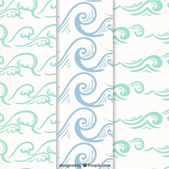 Três, decorativo, padrões, mão-drawn, ondas