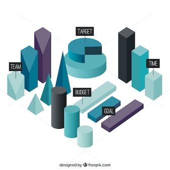 Três elementos infográfico dimensionais