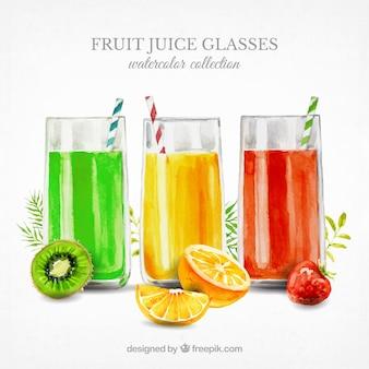 Três, fruta, sucos, aquarela, estilo